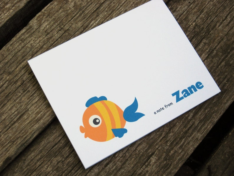 Beach Note Cards Fish Note Card Set Set of 8 Personalized Summer Note Cards
