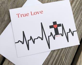 Cross Heartbeat Note Cards - Valentine Cards - True Love - John 3:16