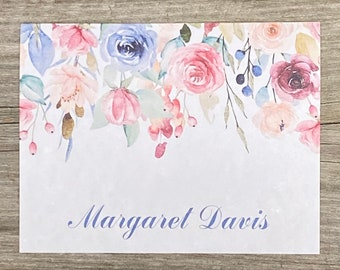 Personalized Watercolor Stationery - Watercolor Floral Drop