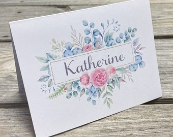 Personalized Watercolor Note Cards - Watercolor Flowers - Personalized Stationery