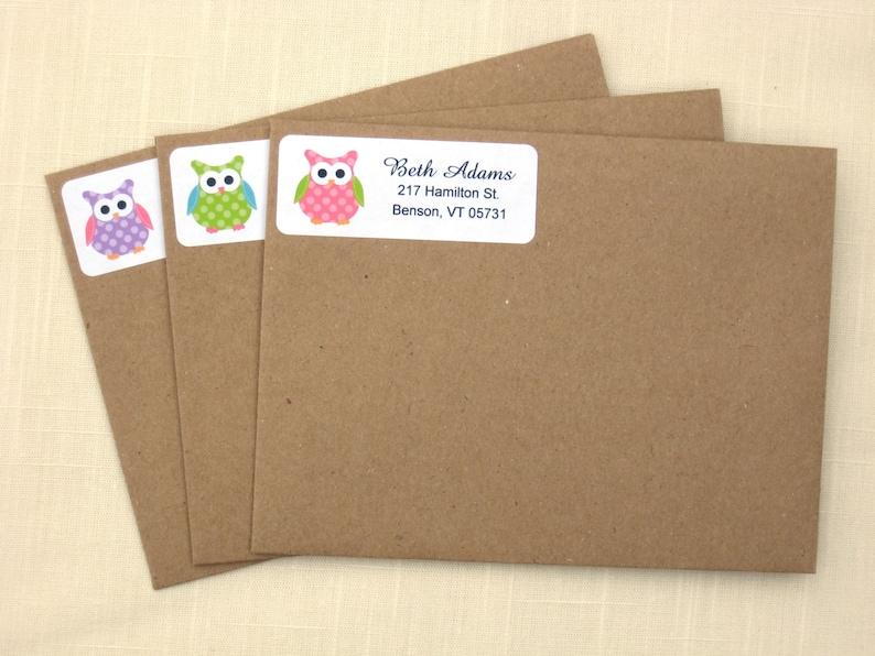 3 Colors! Owl Return Address Labels 90 Labels