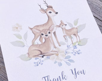 Deer Family Baby Shower Thank You Cards - Watercolor Deer Note Cards -  Set of 25