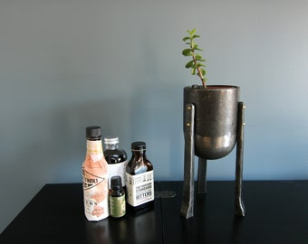 Three-legged Planter - Forged by a Blacksmith