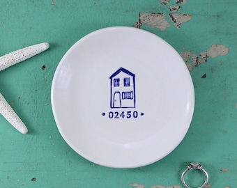 Dish with Your Zip Code, Custom Dish with Zip Code, Personalized Ceramic Dish with House Design, House Warming Gift, Hostess Gift