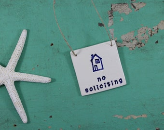 No Soliciting Sign, Front Door Sign No Soliciting, Ceramic Sign with House Design No Solicitors