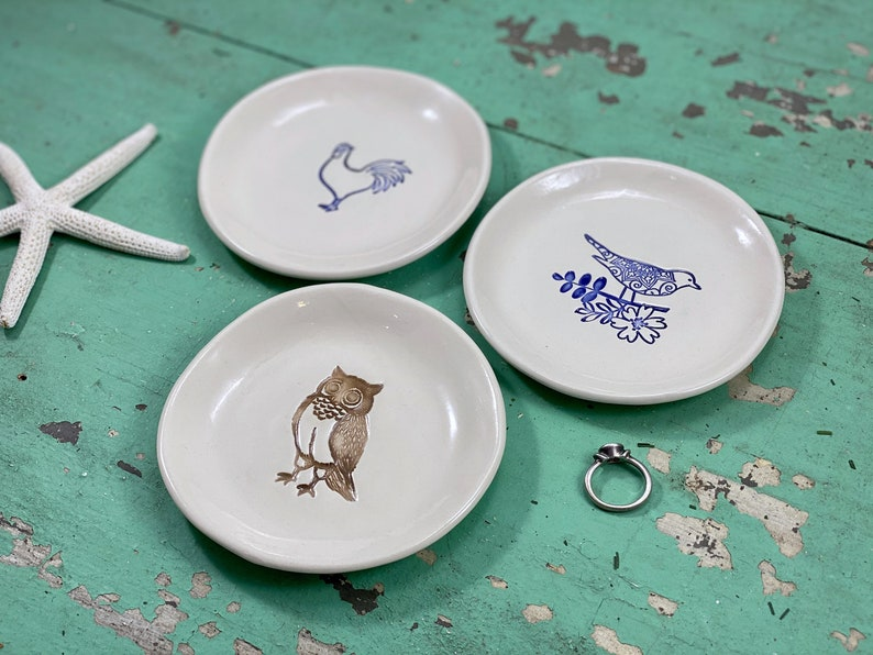 Small Round Jewelry Dish with Bird on Branch Trinket Dish Ring holder with Chicken Ring Dish with Brown Owl Ring Holder
