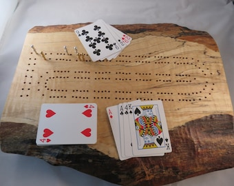 Curly Spalted Rock Maple Cribbage Board with Live Edge