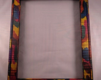 11x14  Rock Maple light Curl with Multi Colored Tie Dye Picture Frame - Made in Maine - Real Wood Frame