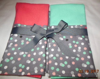 Polka Dot Flannel Receiving Blanket and Burp Gift Set