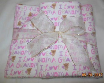 I Love Grandma Flannel Receiving Blanket and Burp Cloth Gift Set