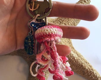 Strawberries and Cream Pink Spiral Plush Crochet Jellyfish Keychain