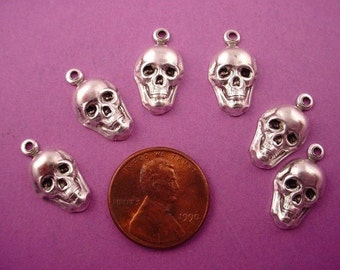 10 silver ox plated human skull  hollow back charms stampings