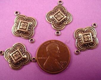 6 antique brass ox art nouveau moorish connectors 17mm
