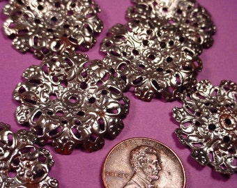 4 Vintage Antique silver ox  open cut  perforated Round Curved dapped Filigree 28mm Stampings