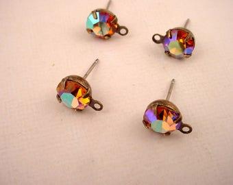 4 Messing Ochse verschweißt chirurgischem Stahl Hypo Post Stift Einstellung Glas Topas AB Aurora Borealis Runde 35ss 7mm Ohrring obere Schleife Glam Braut