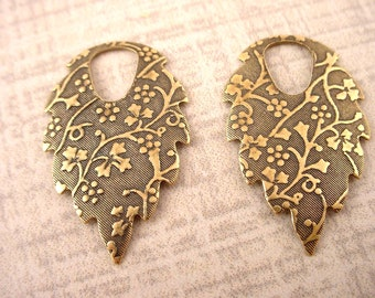 4 brass ox art nouveau leaf shape floral motif debossed slated textured hoop dapped nature charms 35mm