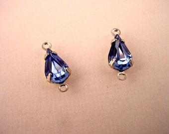 Vintage Glas leichten blauen Saphir Teardrop Birne Silber Stift 2 Ring Verbinder 10 x 6 - 6 Stück