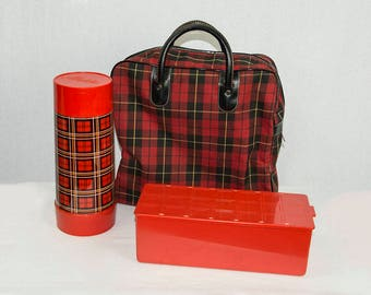 Vintage 1960s Plaid Aladdin Lunch Set Suitcase Thermos and Container Three Piece Picnic Set