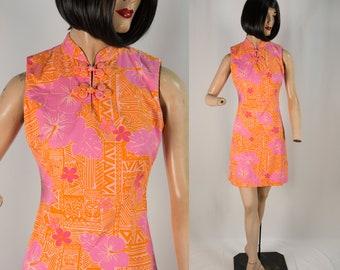 Vintage Lilly Pulitzer Tiki Novelty Print Dress Pink and Orange Hawaiian Sundress