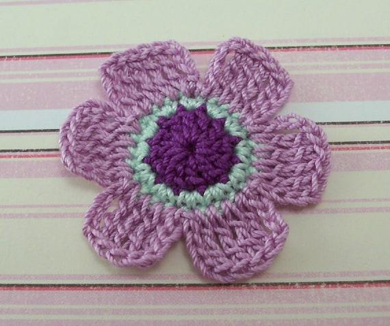 Purple Flowers 6 Petal Flowers Flower Appliques Crochet Etsy