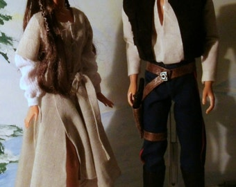 Star Wars character dolls OOAK Han and Leia