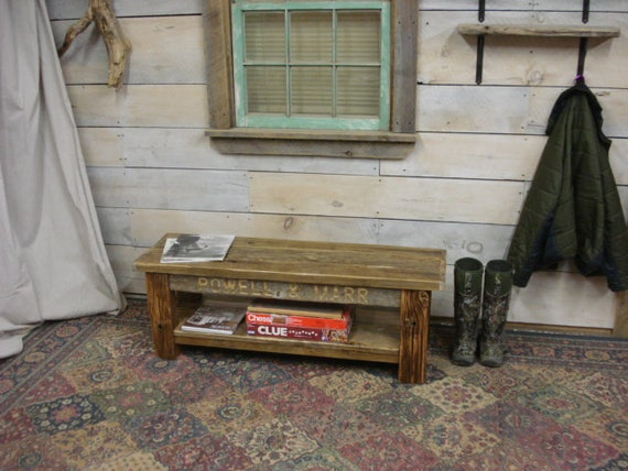 Driftwood Coffee Table Or Bench With Shelf Order With Monogram Or Without 38 To 48 X 15 X 17 High Farmhouse Dining Table