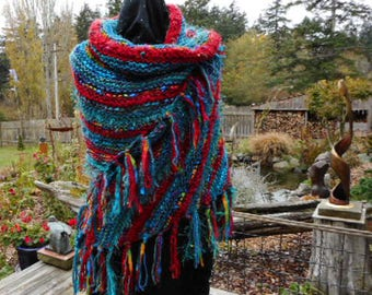 Handknit Shawl in Shades of Turquoise and Red Using Many Different Yarns