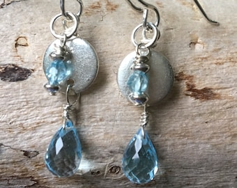 Swiss Blue Topaz Faceted Sterling Earrings