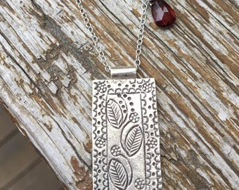 Karen Hill Tribe Fine & Sterling Silver Garnet Necklace