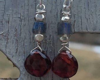 Labradorite & Garnet Earrings, Sterling Silver