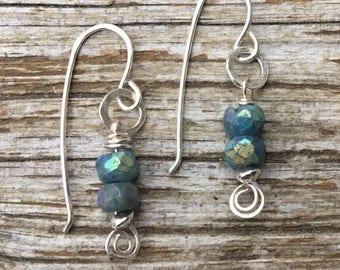 Mystic Chrysocolla Sterling Spiral Earrings