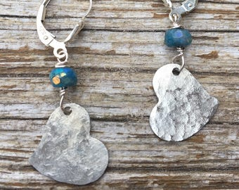 Sterling Hammered Heart & Mystic Chrysocolla Earrings