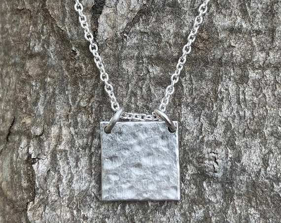 Sterling Dainty Square Necklace