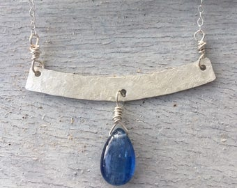 Hammered Sterling Silver Kyanite Necklace