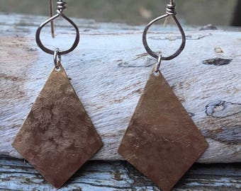 Hand Hammered Brass & Sterling Earrings