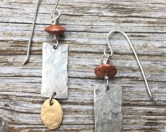 Copper, Brass, & Sterling Tricolor Earrings