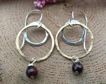 Two Tone Garnet Earrings, January Birthstone Earrings