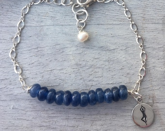 Sterling Silver Yoga Tree Pose Kyanite Bracelet  biker, runner, swimmer