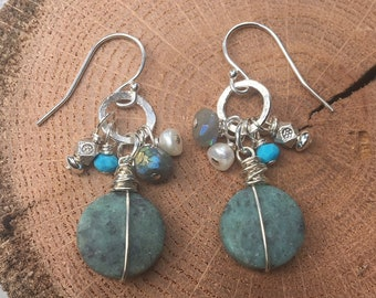 Matte African Turquoise Sterling Earrings-Green Turquoise Earrings-Hammered Sterling Earrings