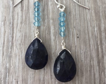 Sterling Blue Topaz & Sapphire Earrings
