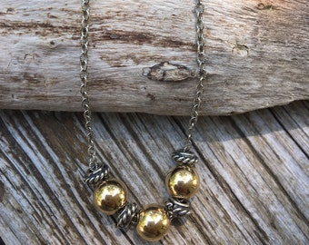 Sterling Silver Gold Filled Two Tone Necklace