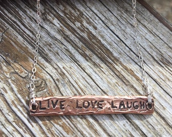 Bronze Sterling Live, Love, Laugh Necklace