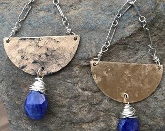 Sapphire Earrings, Blue Earrings, Statement Earrings, Large Gold Earrings, Sapphire dangles, Large Blue Earrings, Two Tone