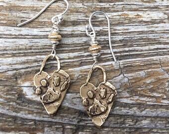 Bronze & Sterling Bronze Heart Paw Earrings