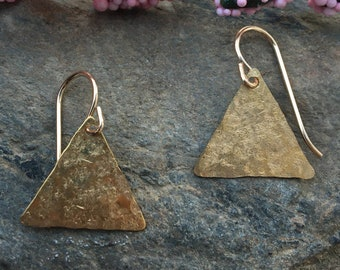 Tiny Gold Earrings, Triangle dangles,  Minimalist Gold Earrings, Simple Gold Earrings, Everyday jewelry