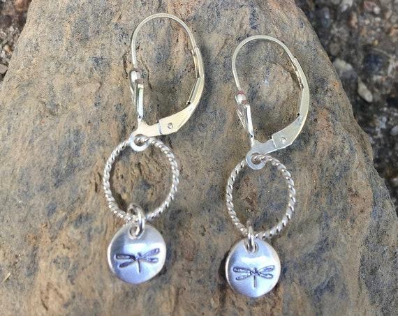 Sterling Dragonfly Earrings, Gift for Nature Lover