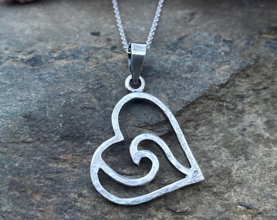 Sterling Silver Heart Wave Necklace