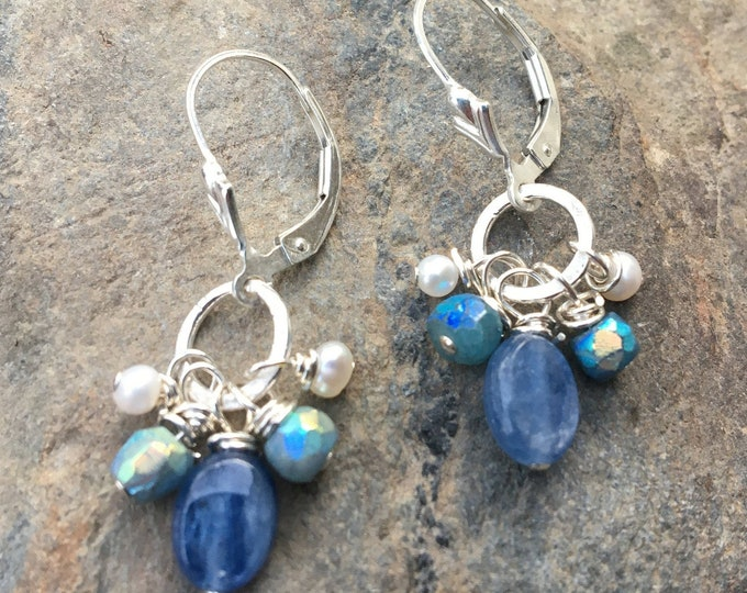 Featured listing image: Sterling Silver Kyanite Lever Back Earrings