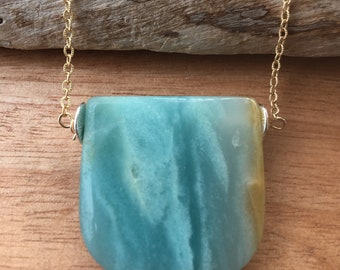 14k Gold Filled Amazonite Necklace, Adjustable Necklace, Layering Necklace, Gift for Mom