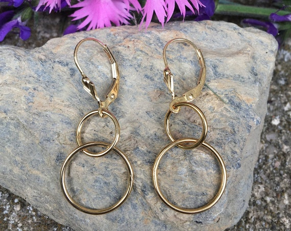 Gold Filled Double Circle Earrings
